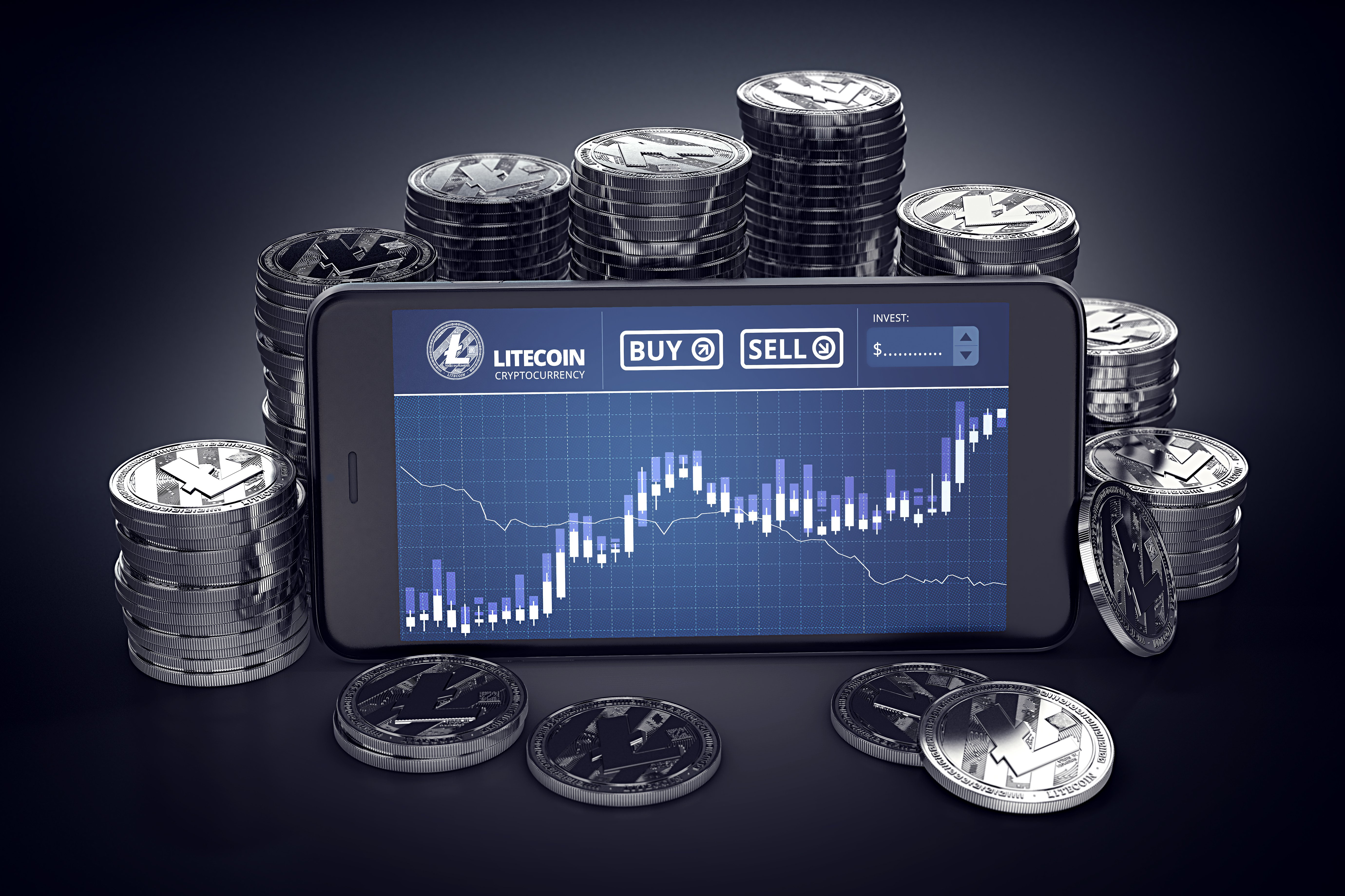 litecoin chart on smartphone