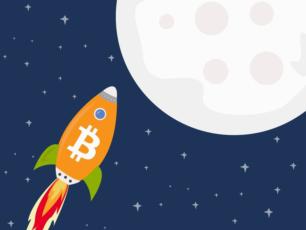 bitcoin rocket going to the moon