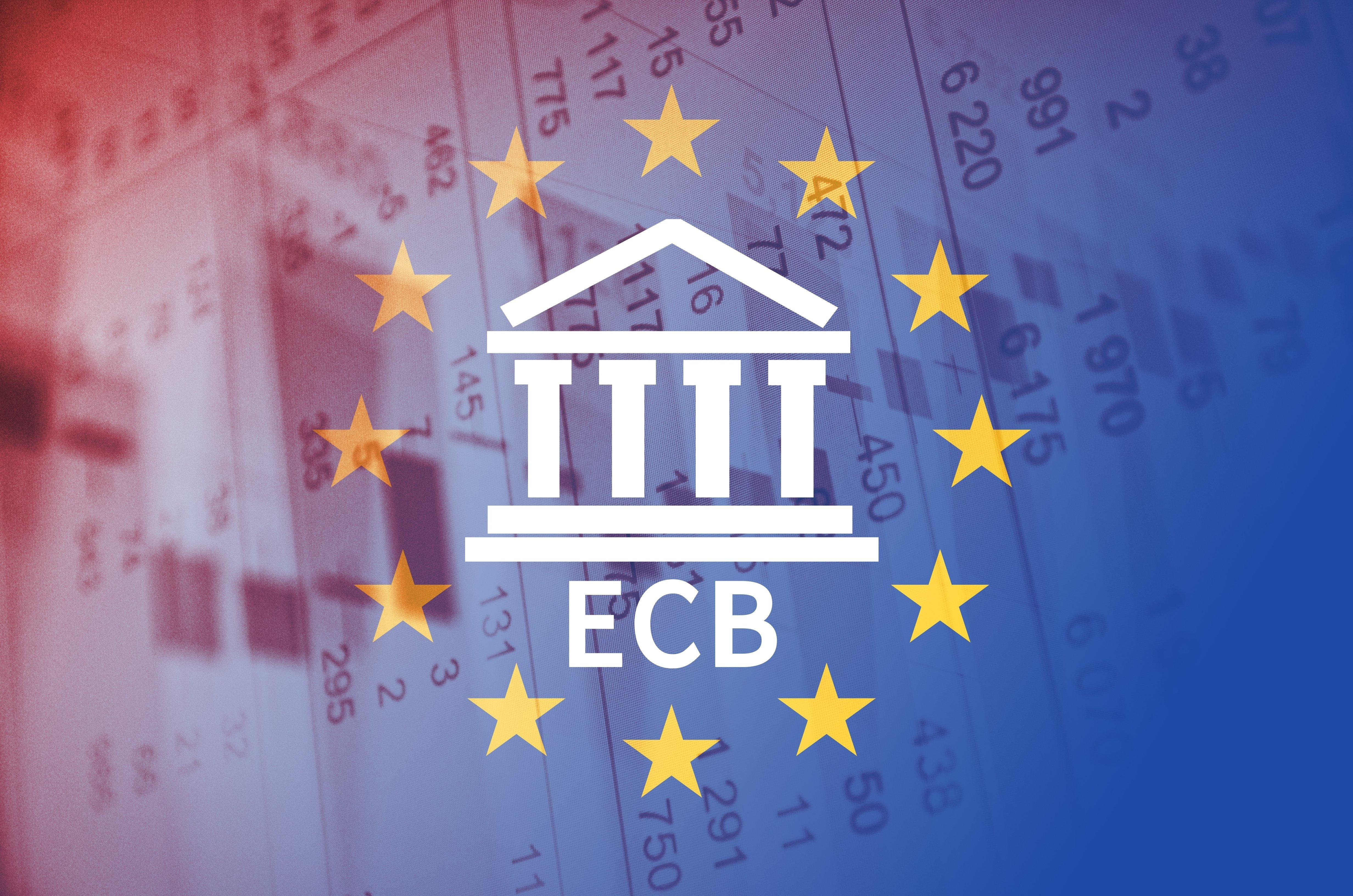 ECB and flag of The European Union over financial background