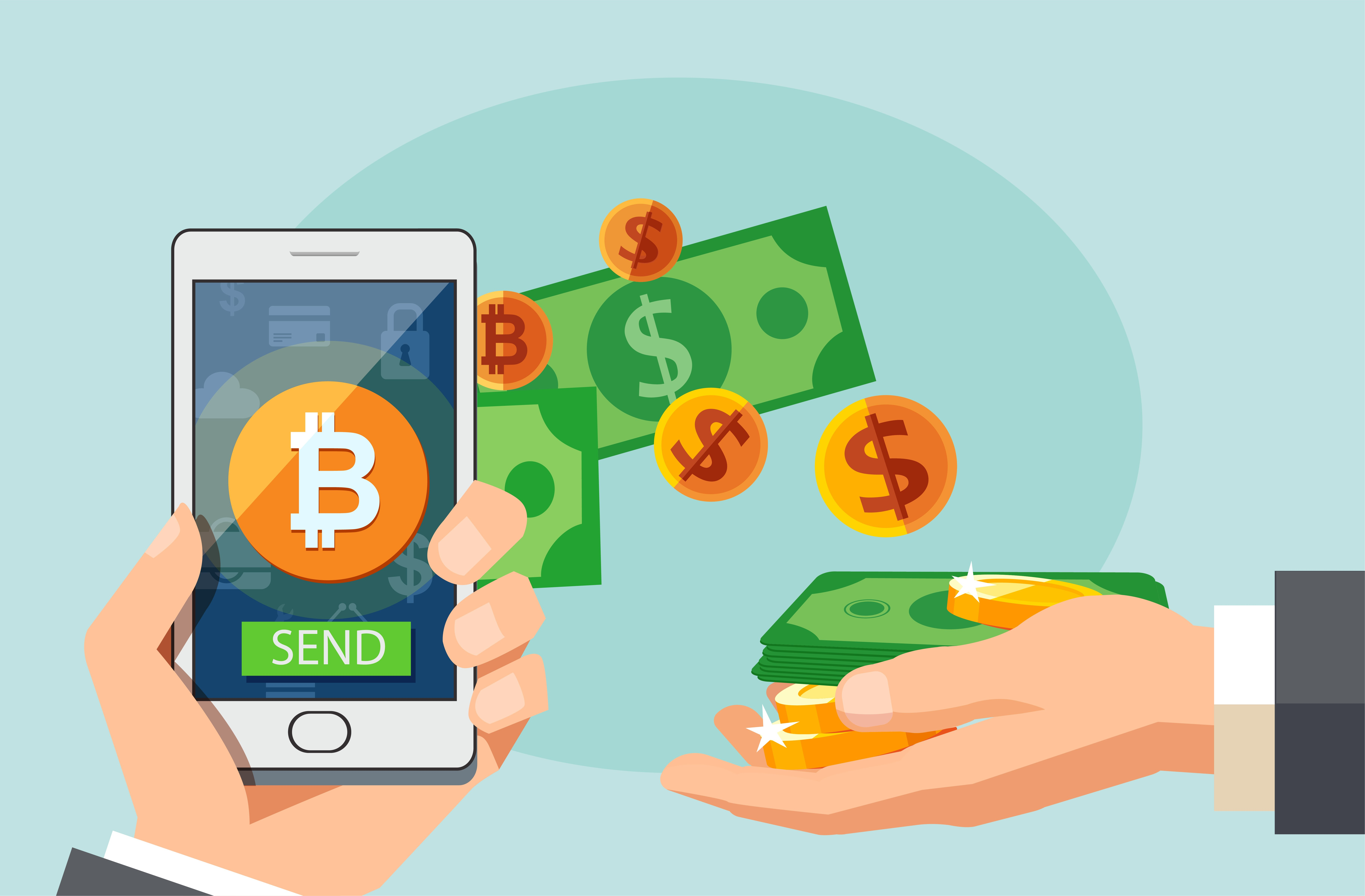 hand holding phone with dollars and bitcoin coming out of it