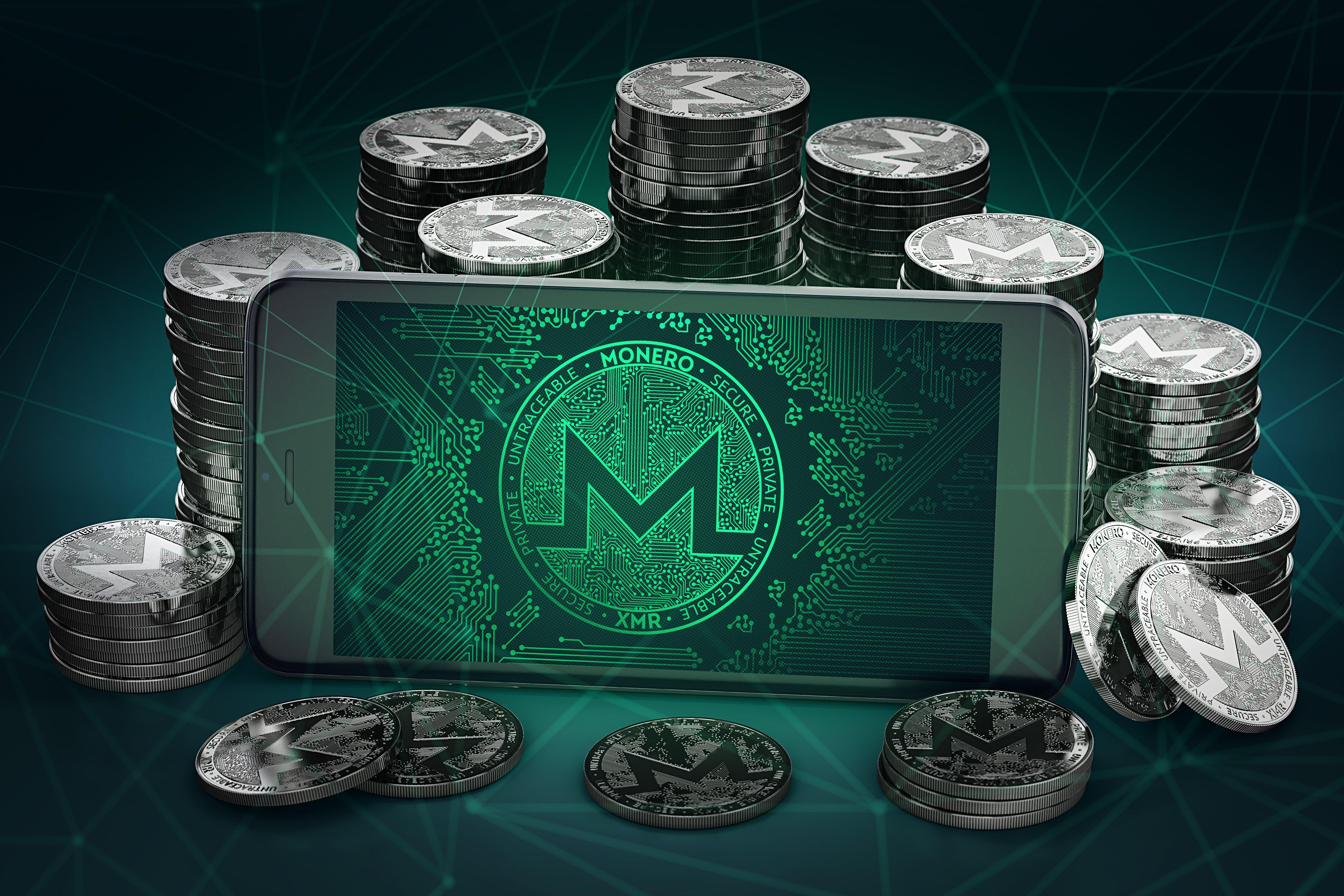 monero logo on smartphone
