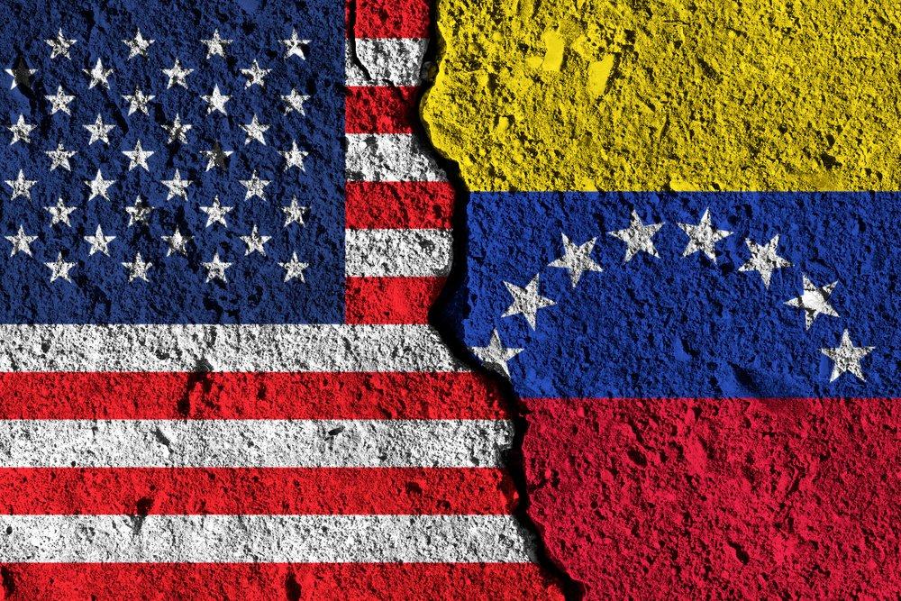 Venezuelan and USA flags split