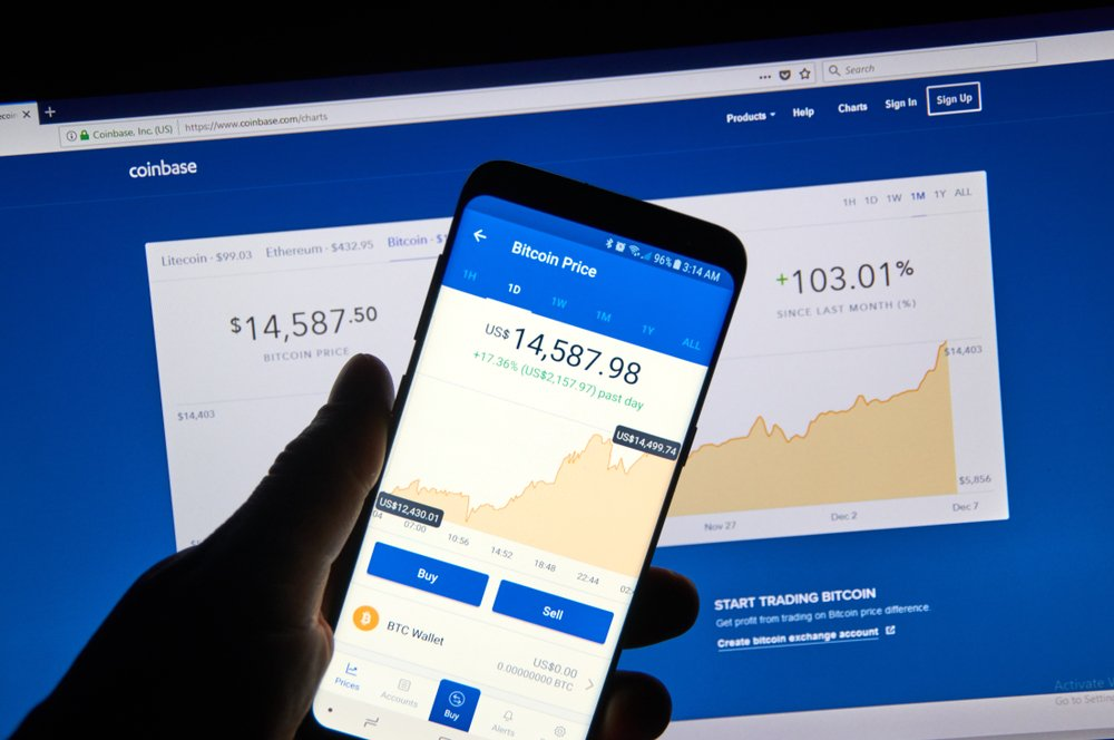 coinbase website on desktop and smartphone