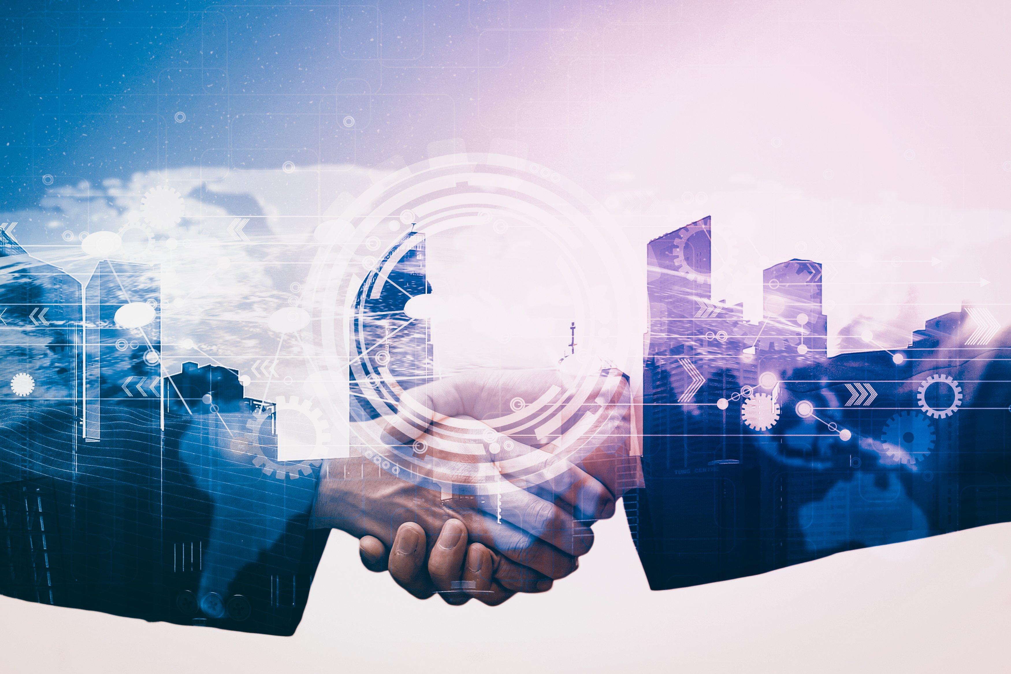 Double exposure of businessman handshake