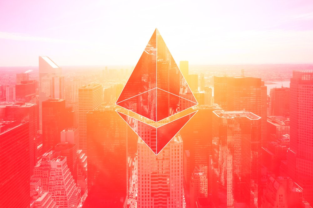 ethereum logo on red city background