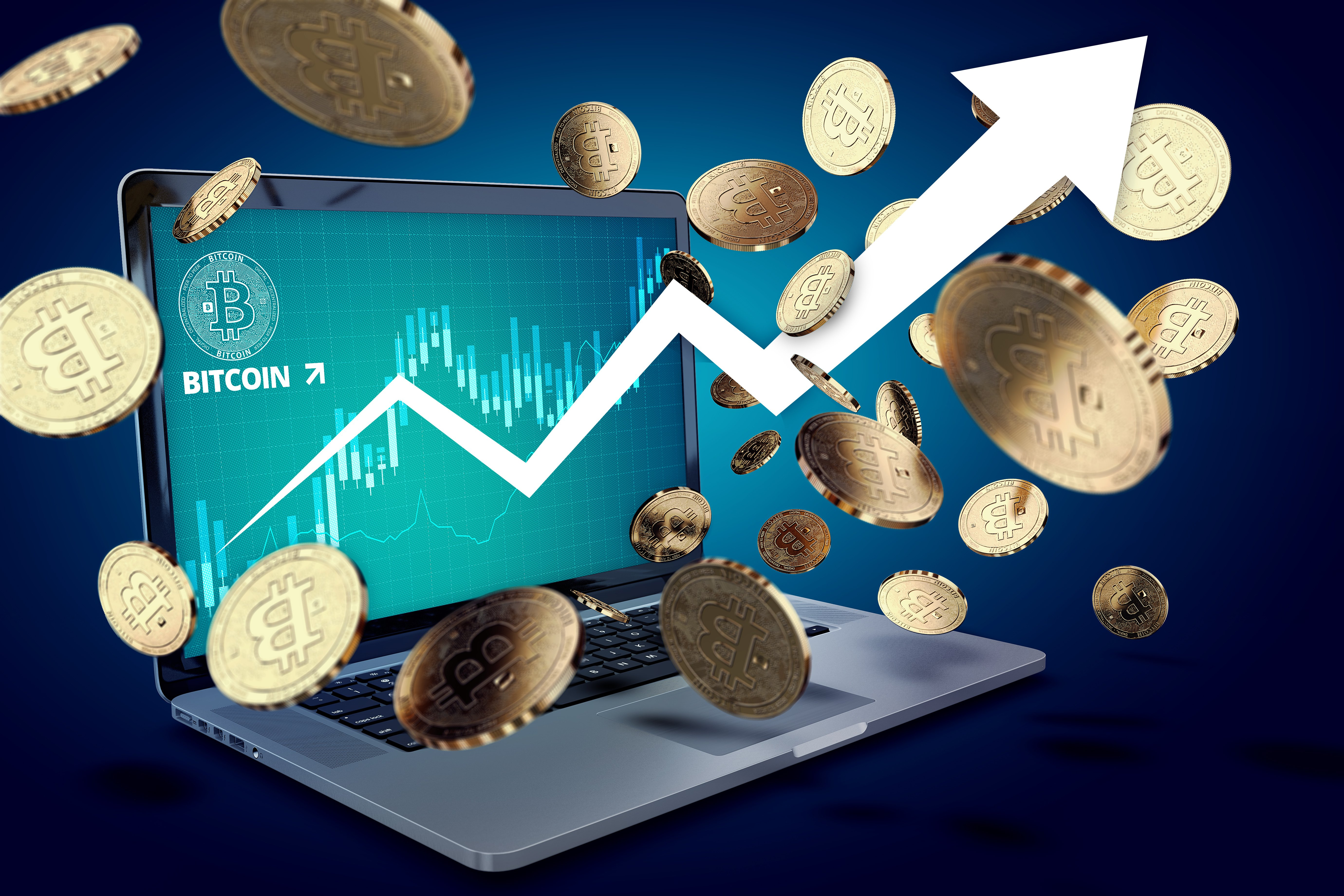 Floating Bitcoin coins against laptop with BTC success chart