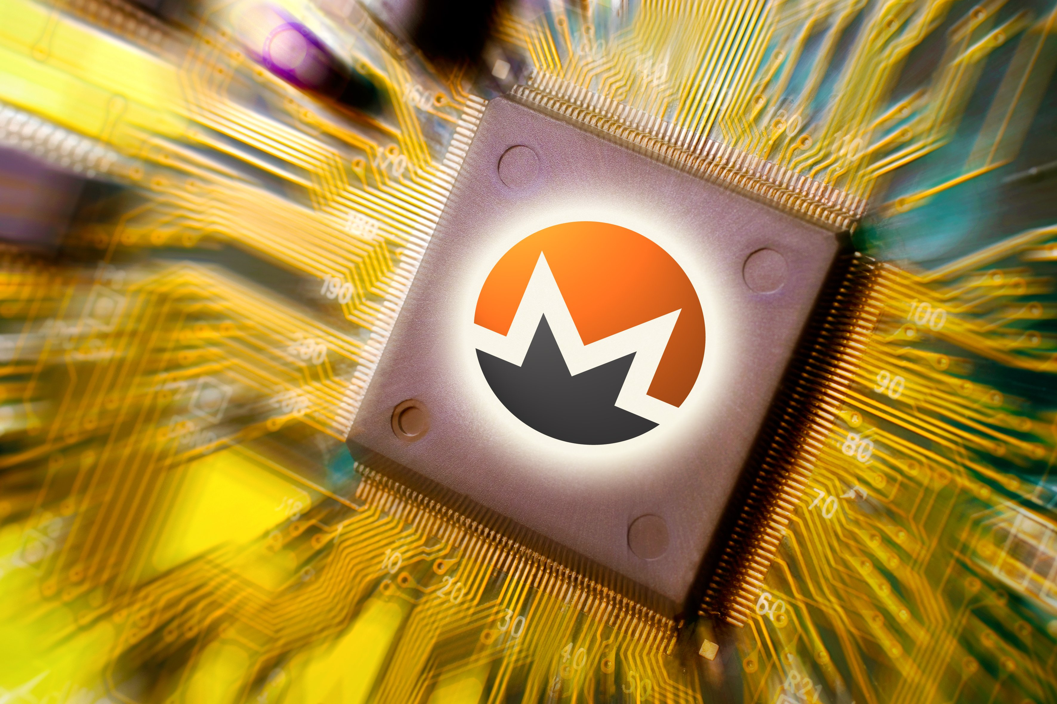 monero image on circuit board