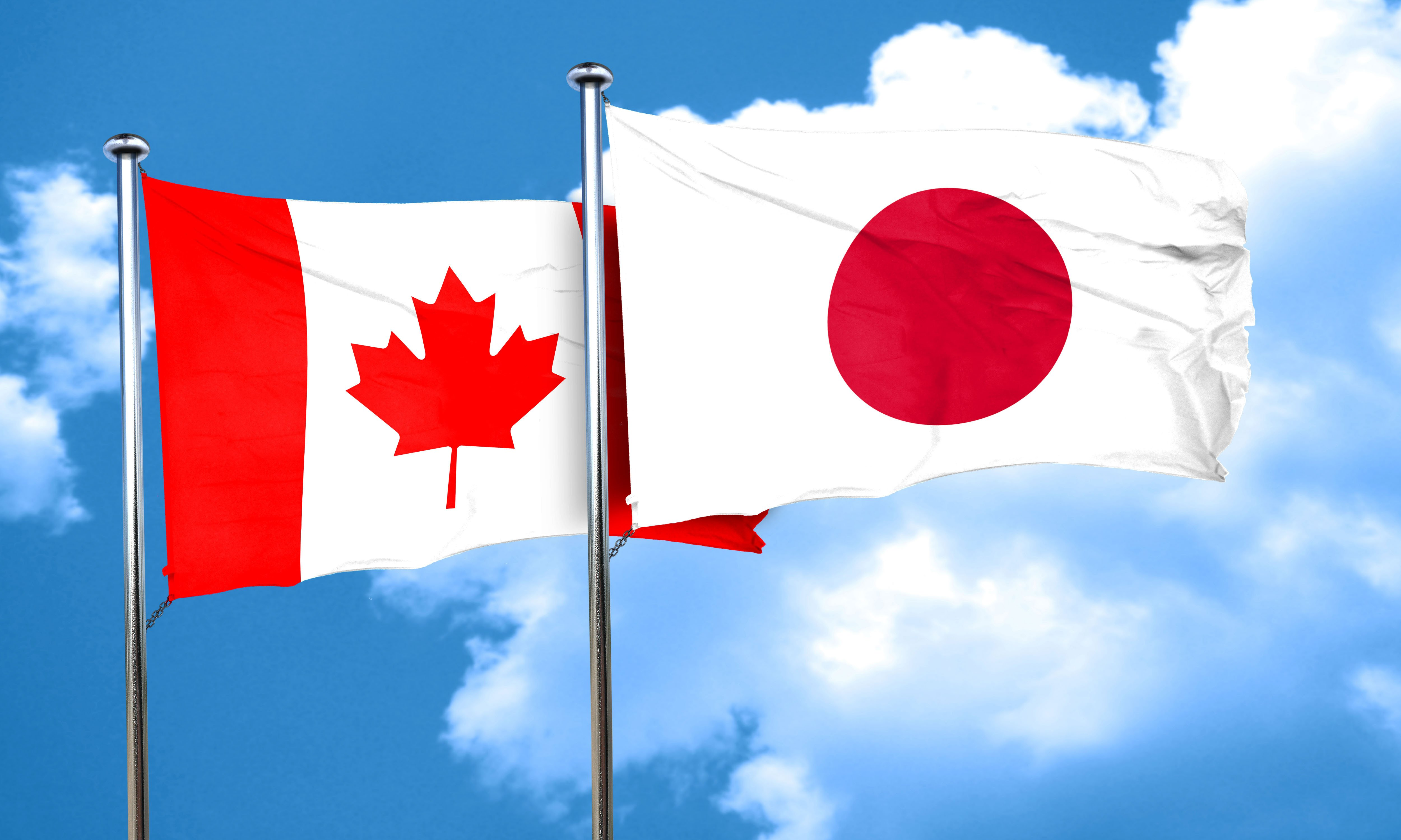 canada and japan flags