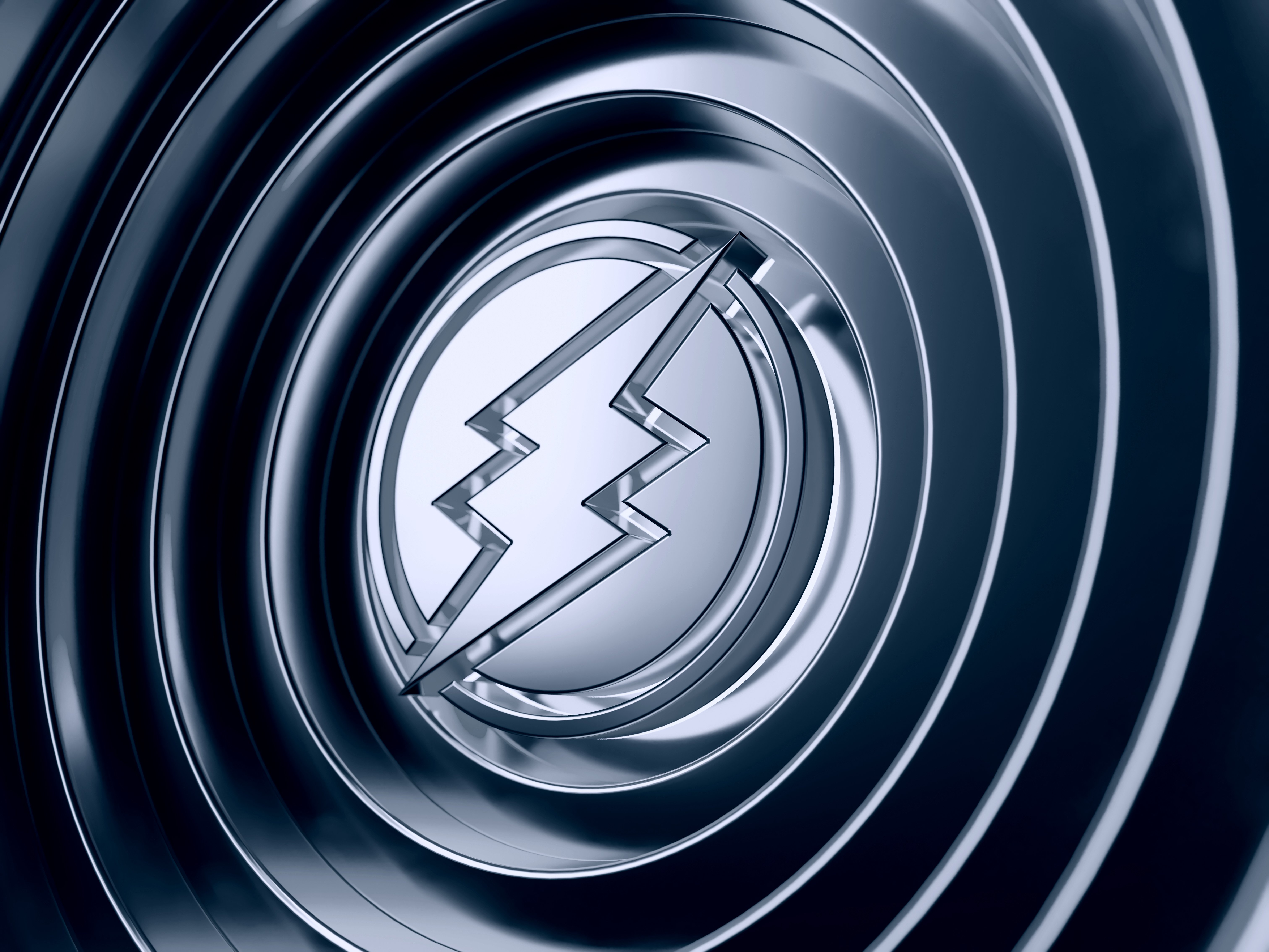 Electroneum ETN logo with metallic reflections on rings background