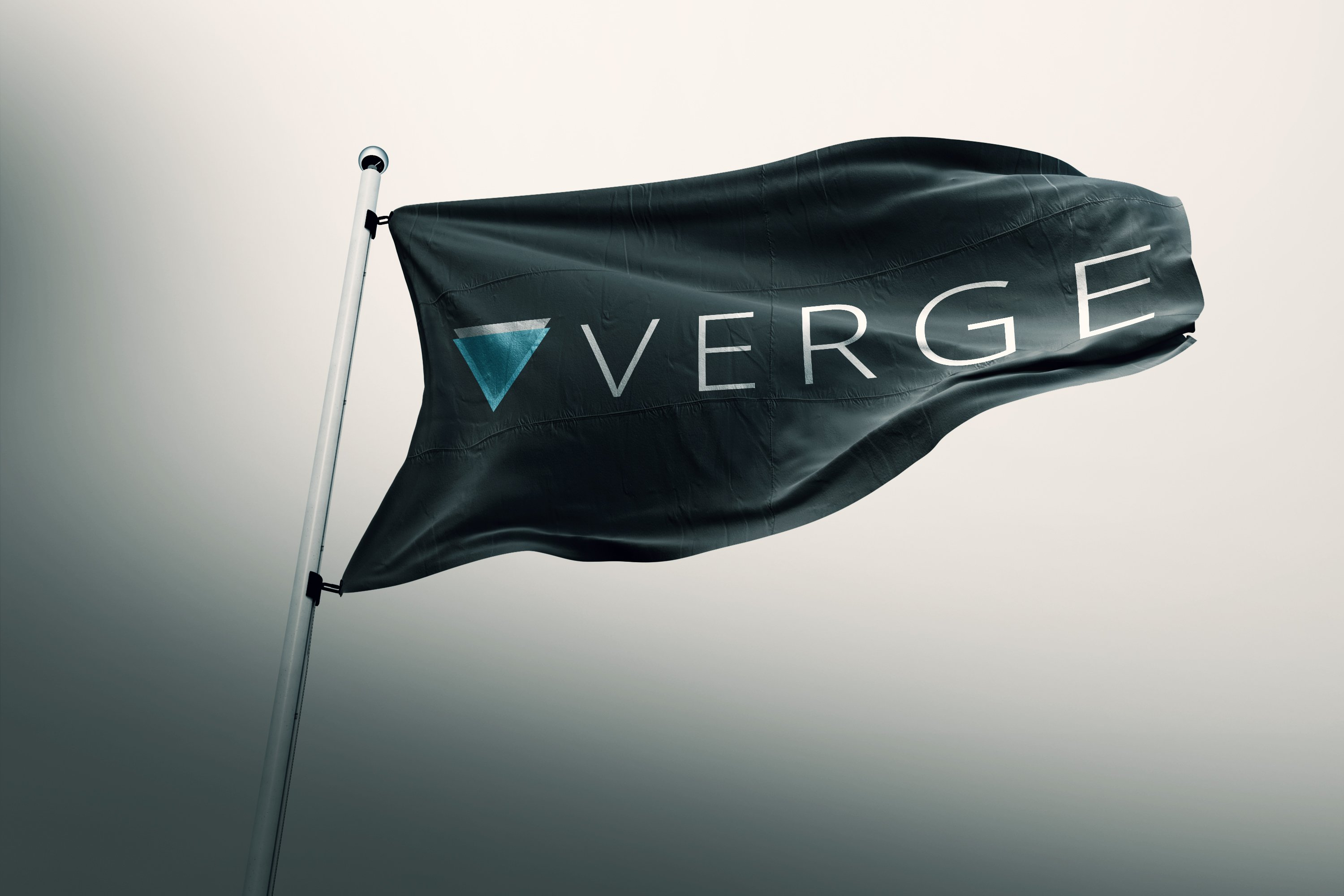 flag with Verge cryptocurrency logo