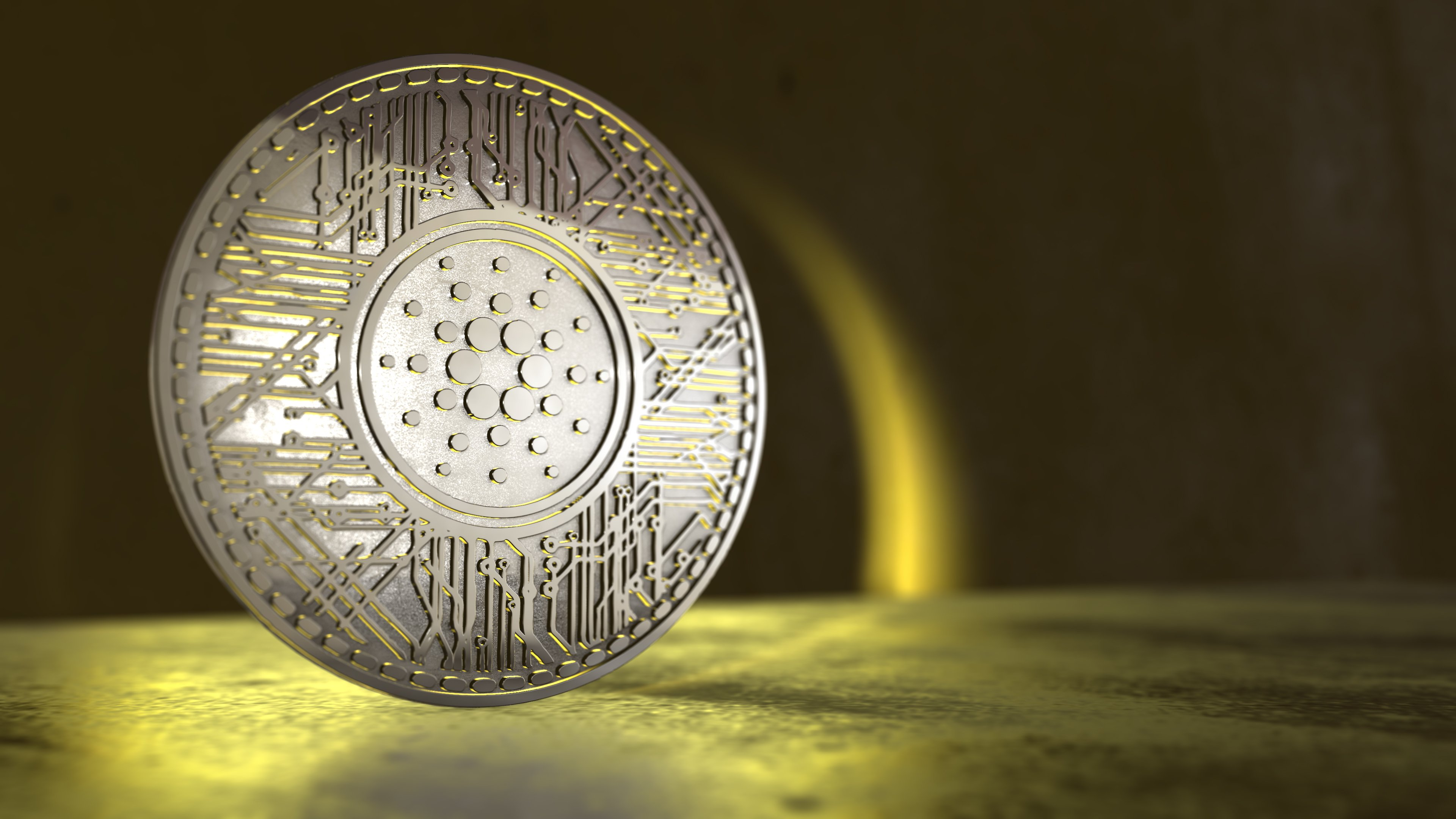 Cardano Coin cryptocurrency 3D Render