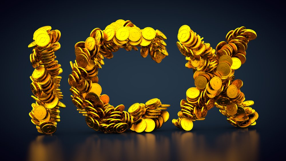 crypto currency ICON made out of golden coins