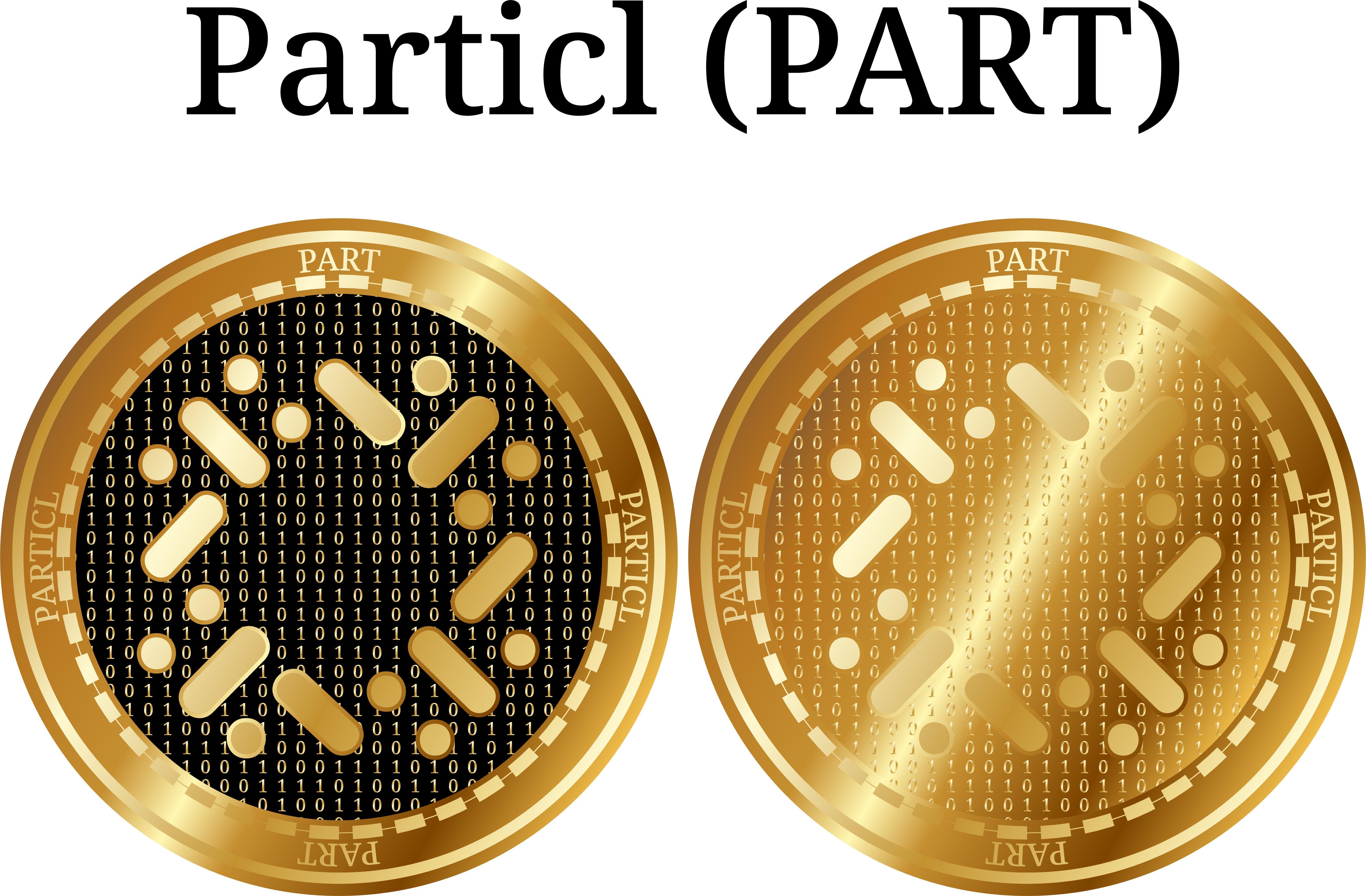 golden Particl coins