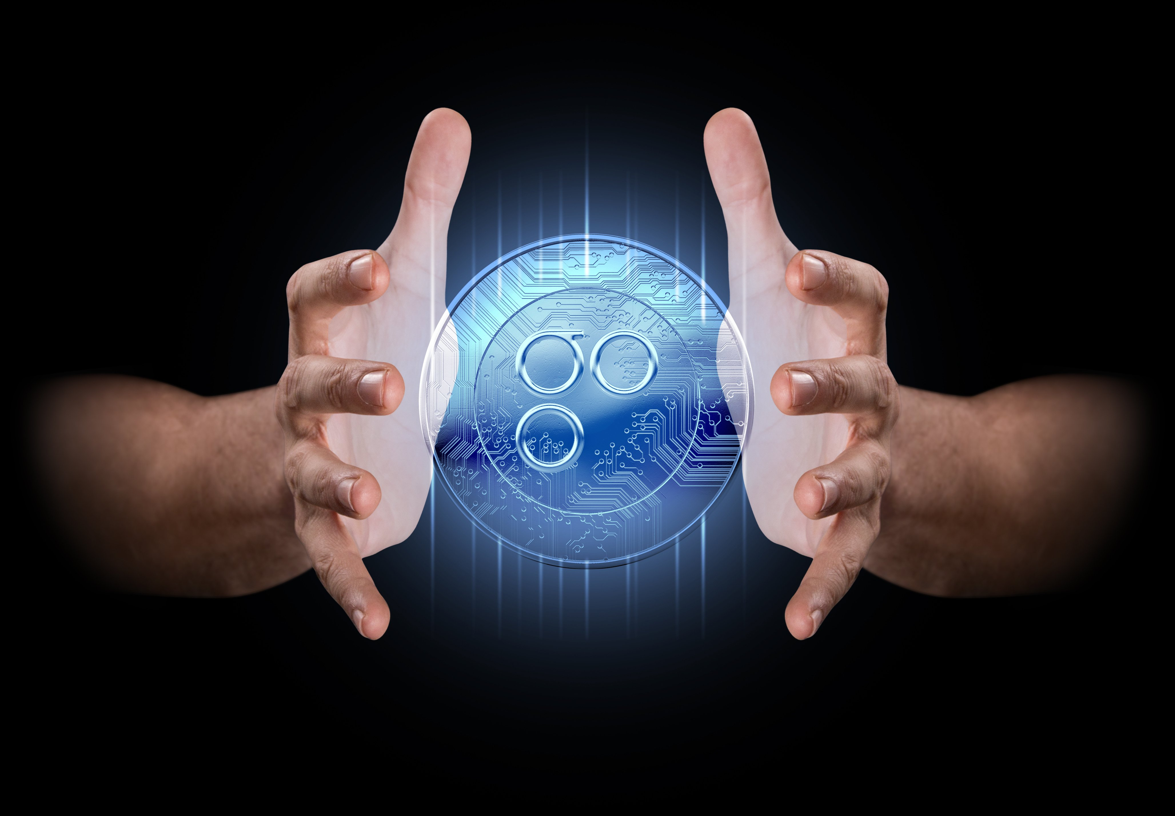 hands enveloping a hologram of an omisego