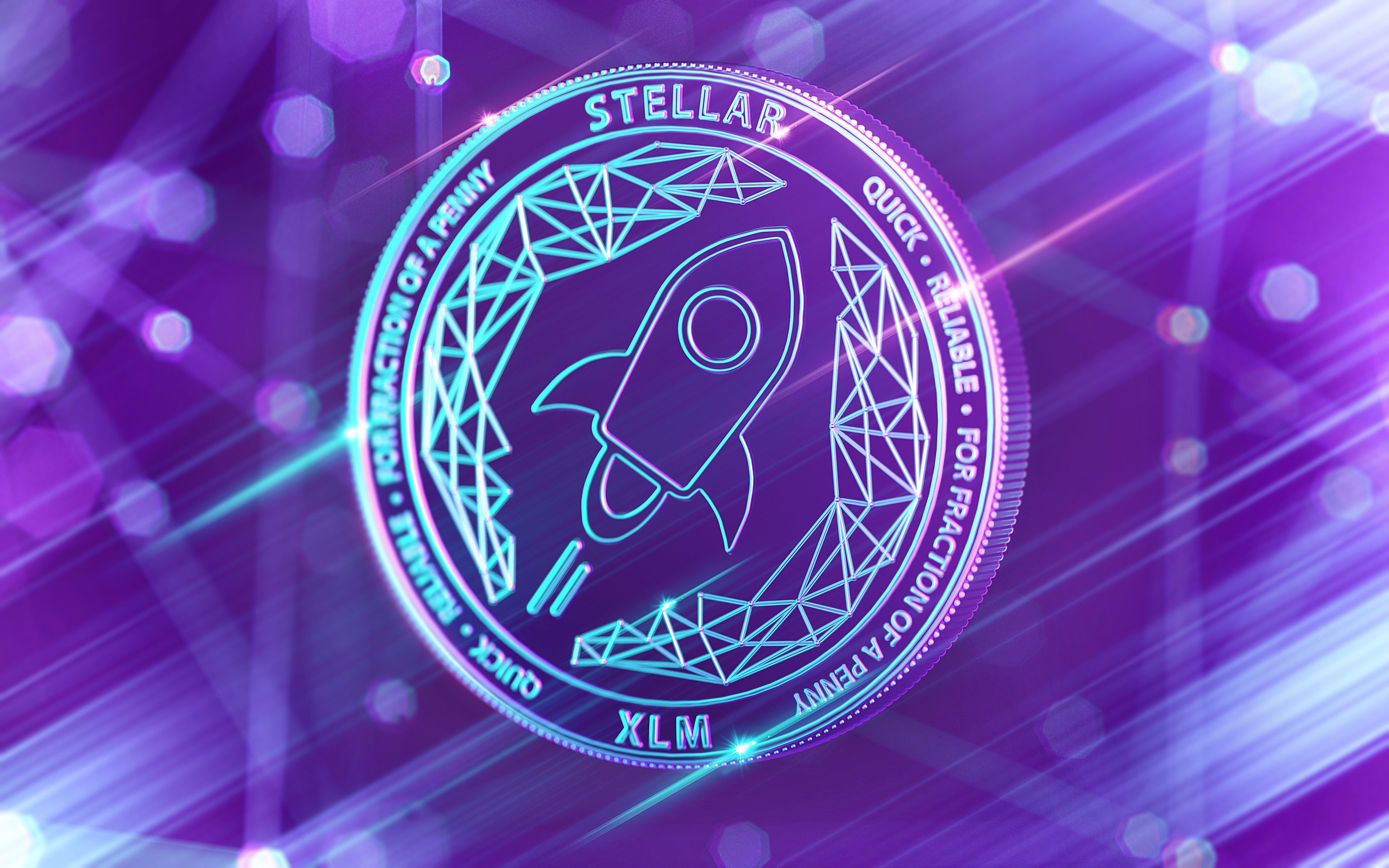 Neon glowing Stellar Lumens coin