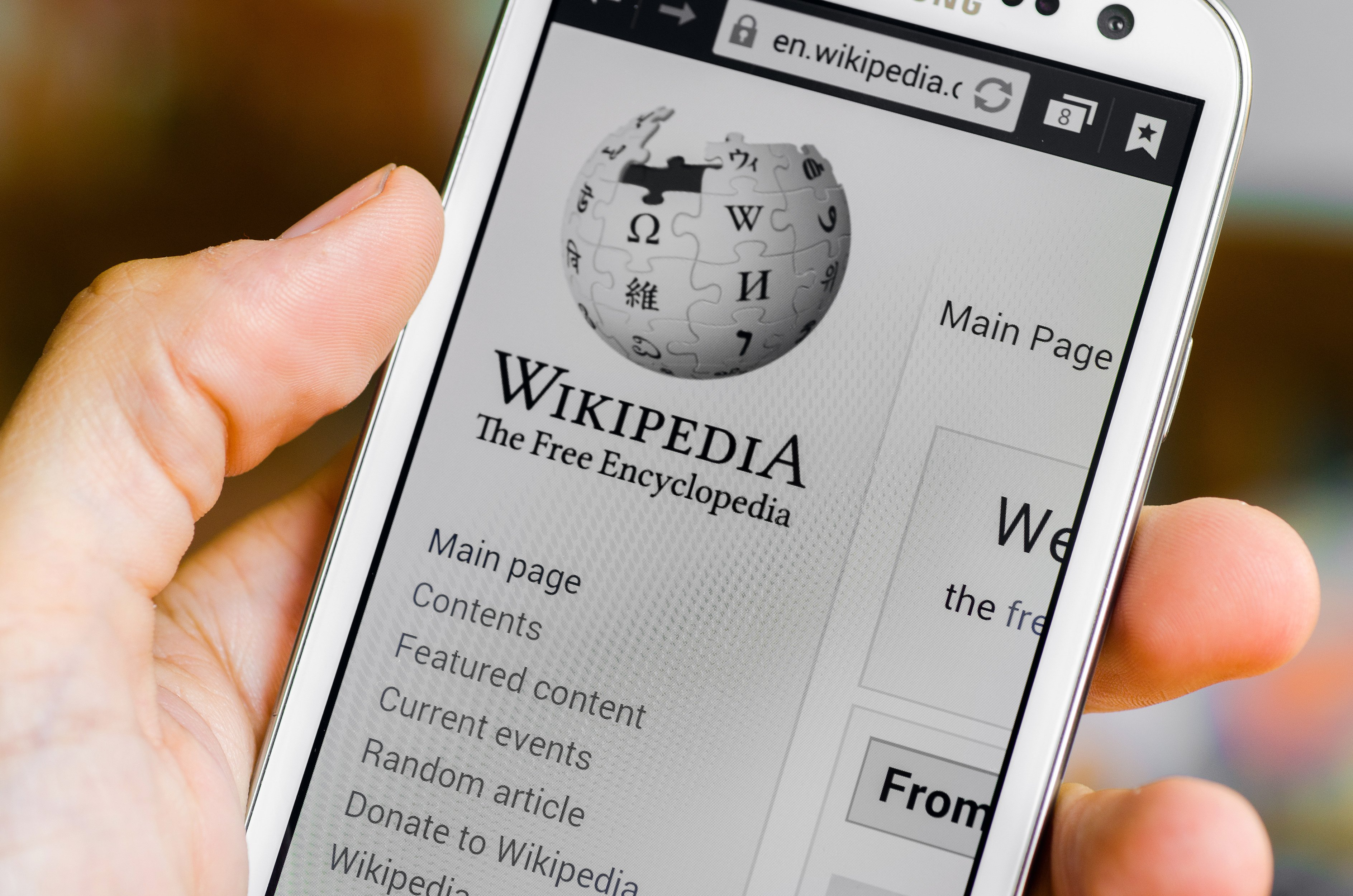 Smart Phone with Wikipedia main page screen