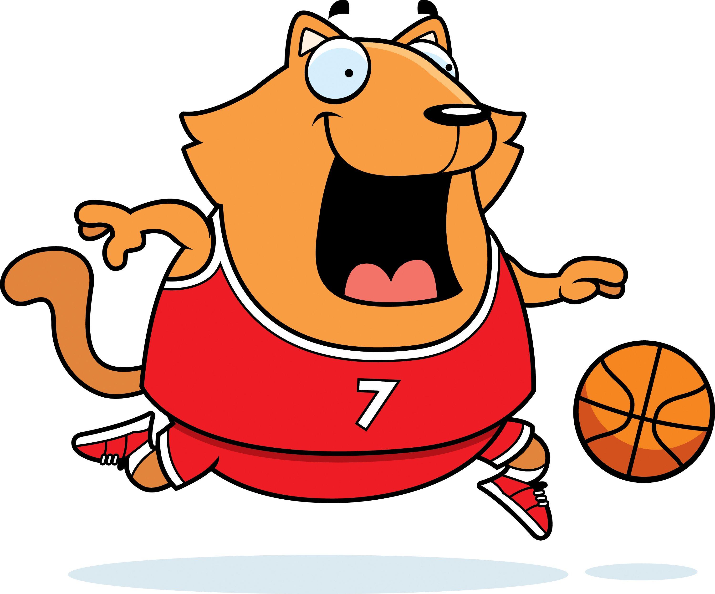 cartoon cat playing basketball