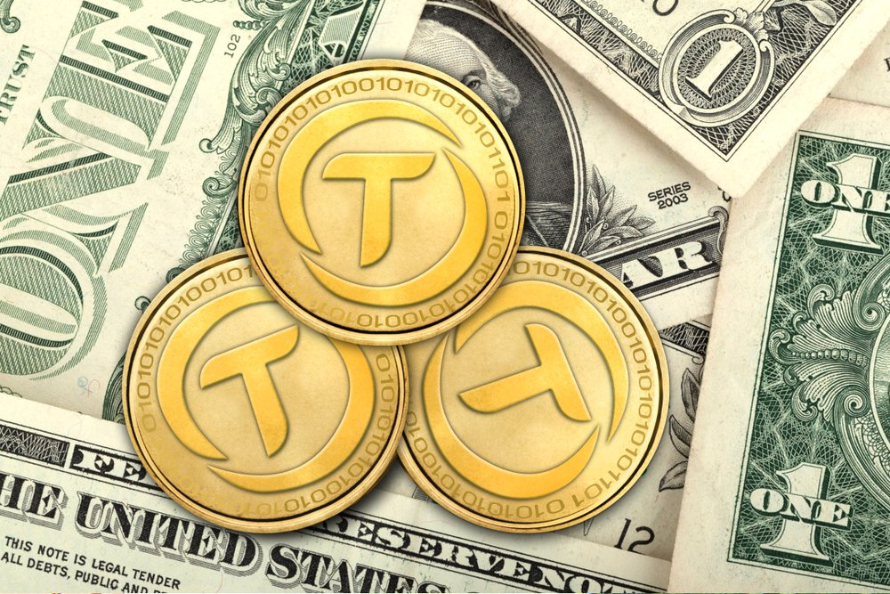 Concept of TrueUSD coin on USD Banknote