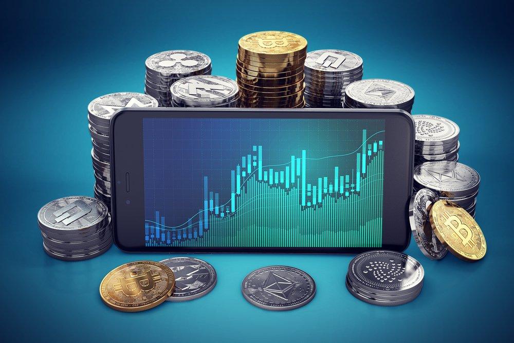 Dash coins surrounding a smartphone