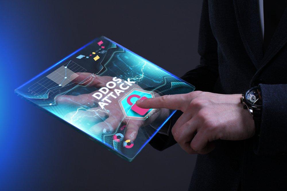 ddos attack written on screen