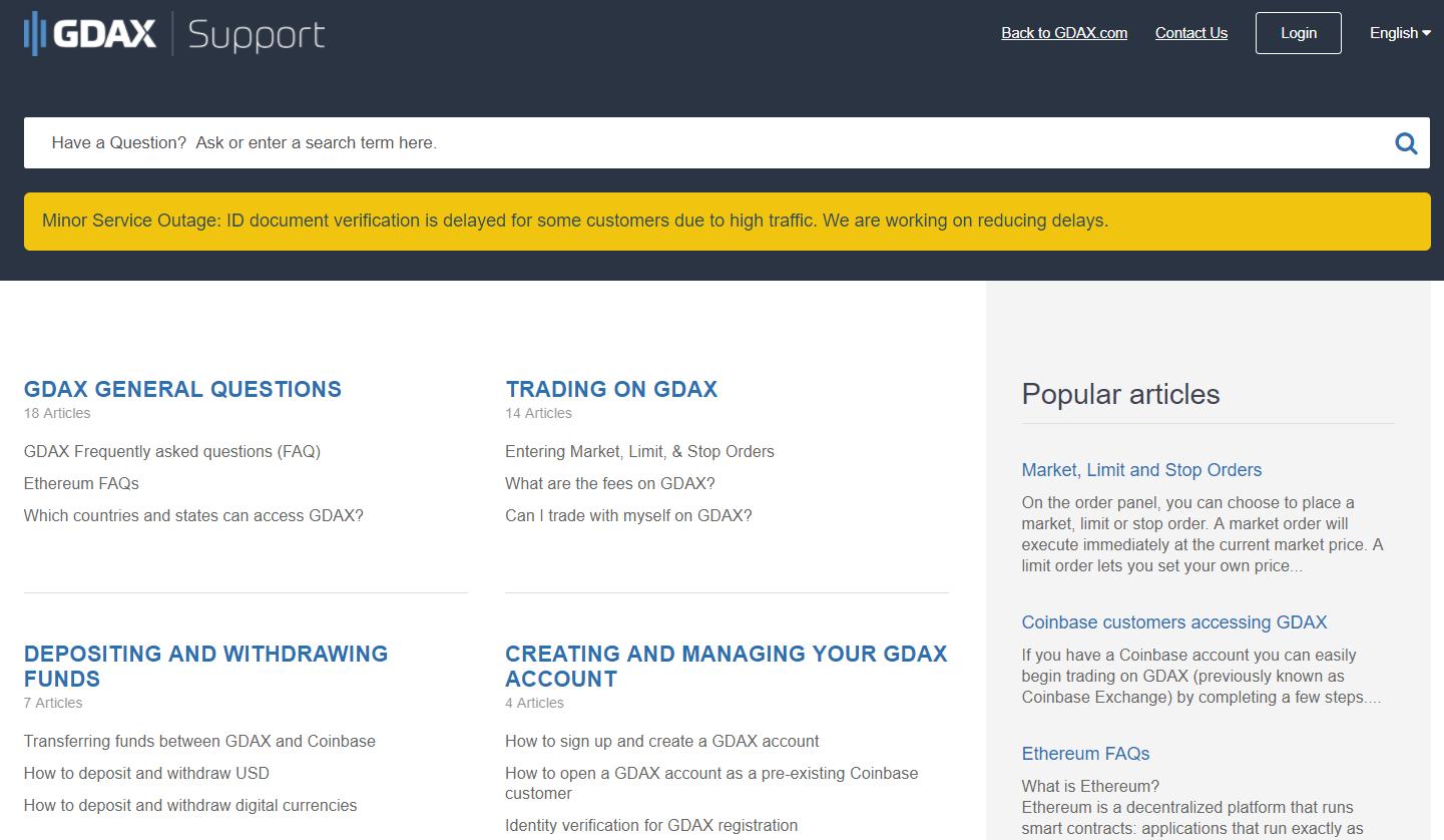 gdax support screen shot