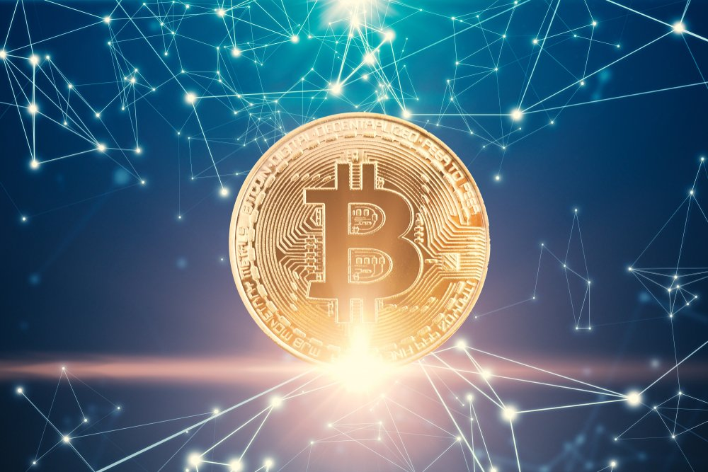 Golden bitcoin with connected point and line
