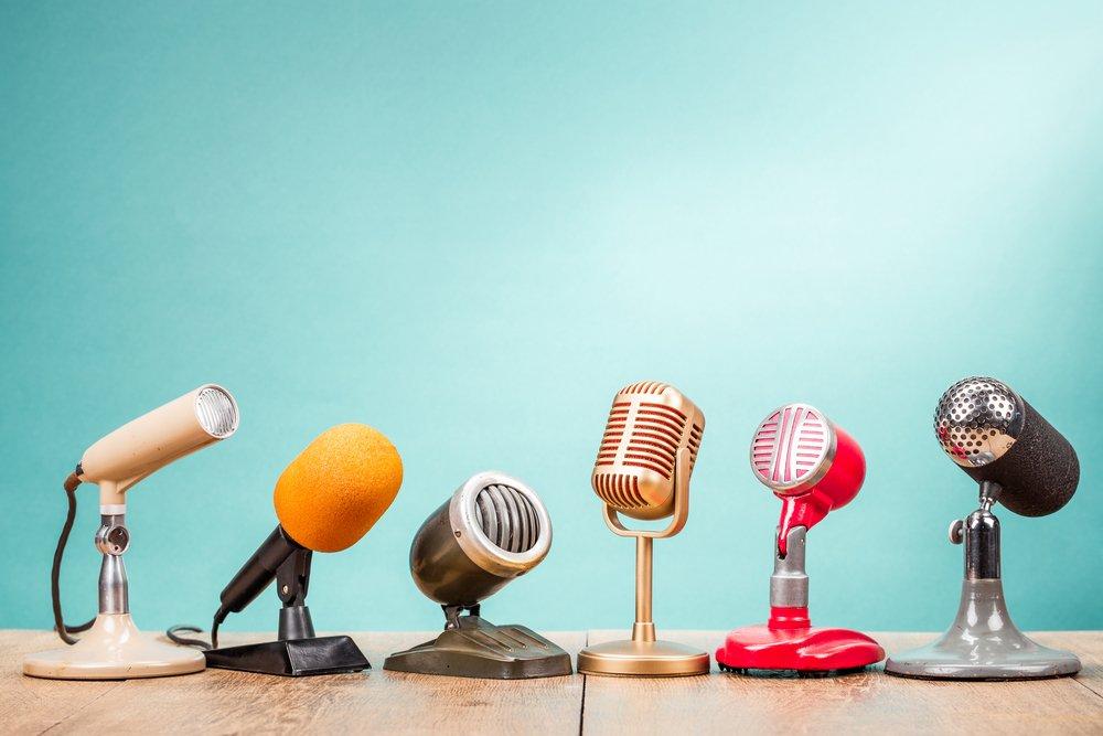 retro microphones on desk