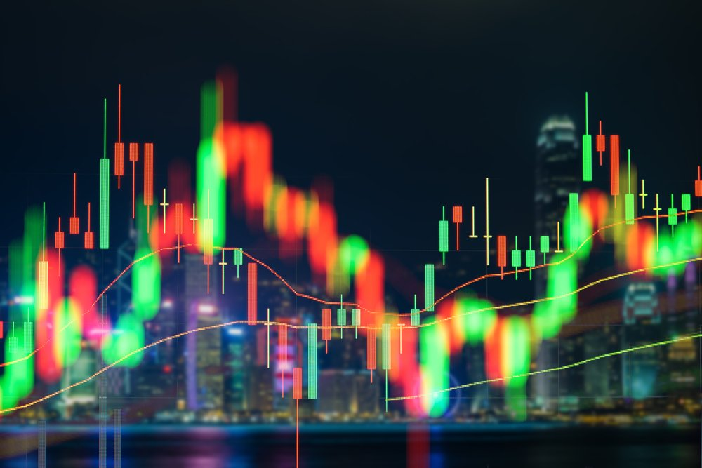 Stock market data in blue on LED display concept
