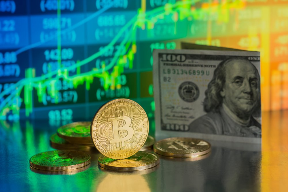 Bitcoin with Dollar Banknote background