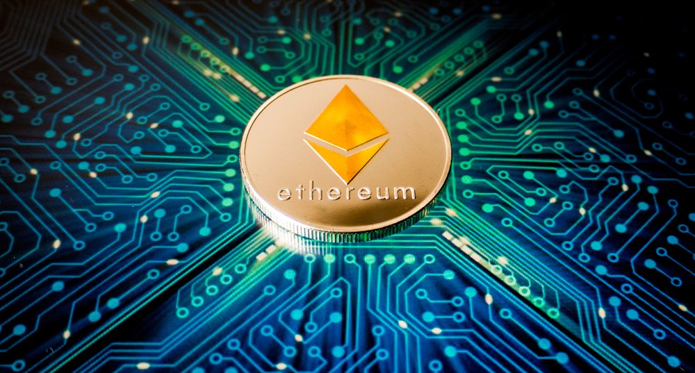 Ethereum coin on a background of blue circuit board pattern