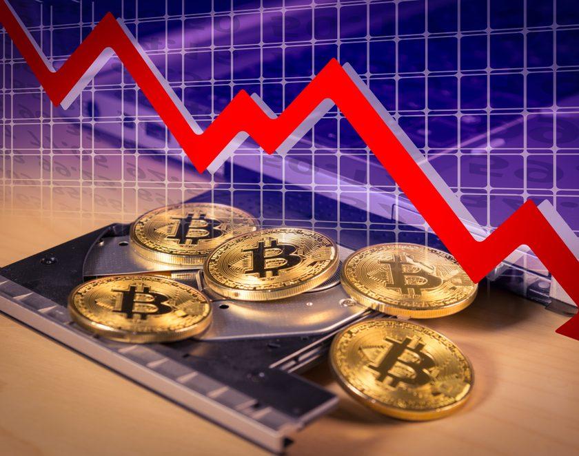Financial bear market falling concept
