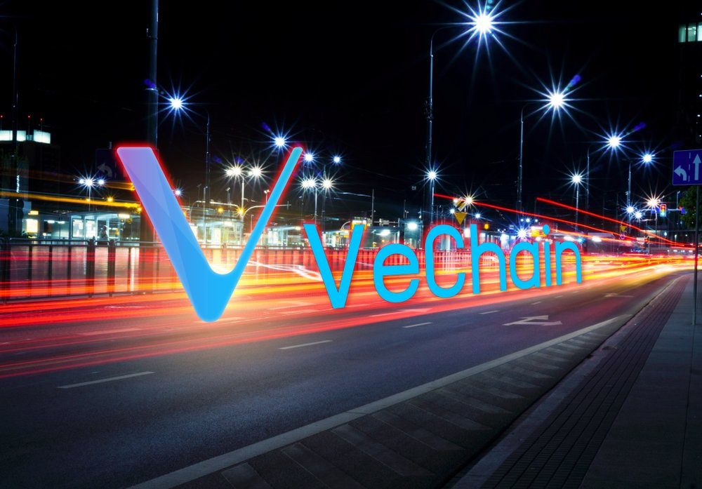 Concept of Vechain coin moving fast on the road