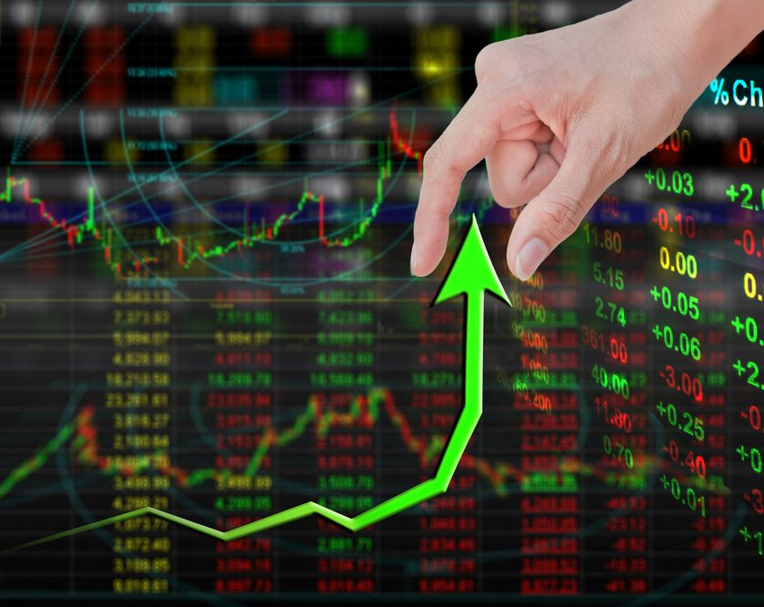 green arrow on rising stocks