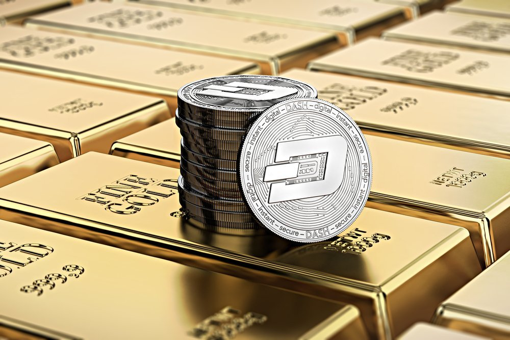 dash coins on gold bars