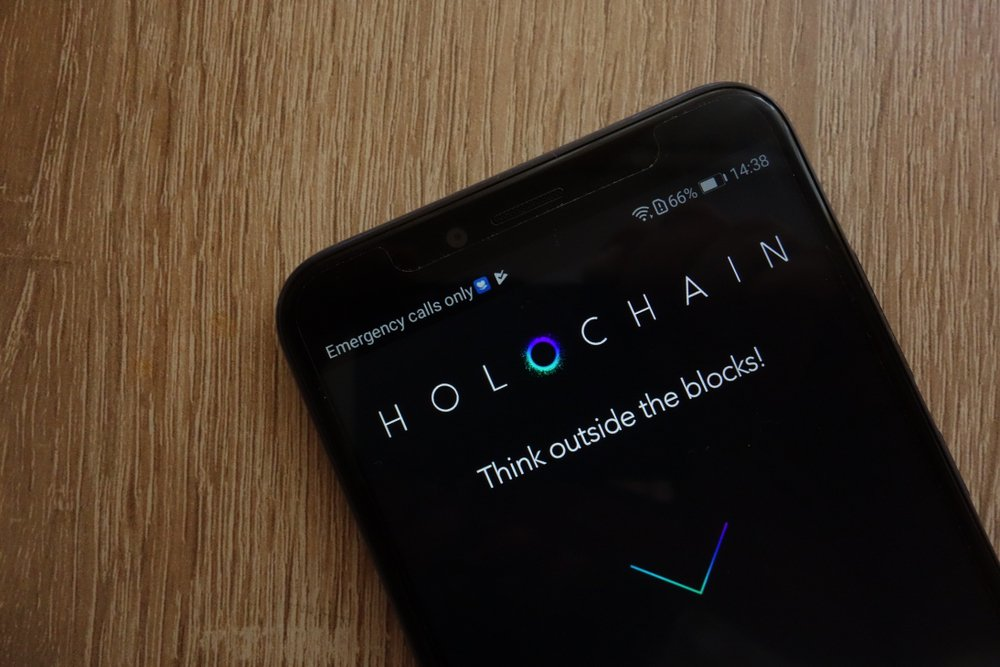 holochain cryptocurrency website displayed on phone