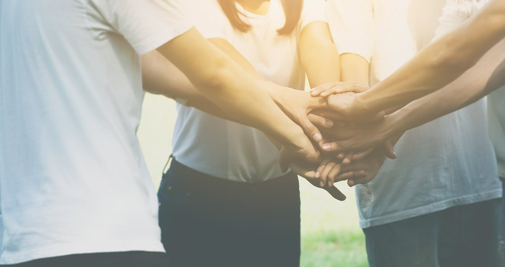 Team teamwork business join hand together conceptv