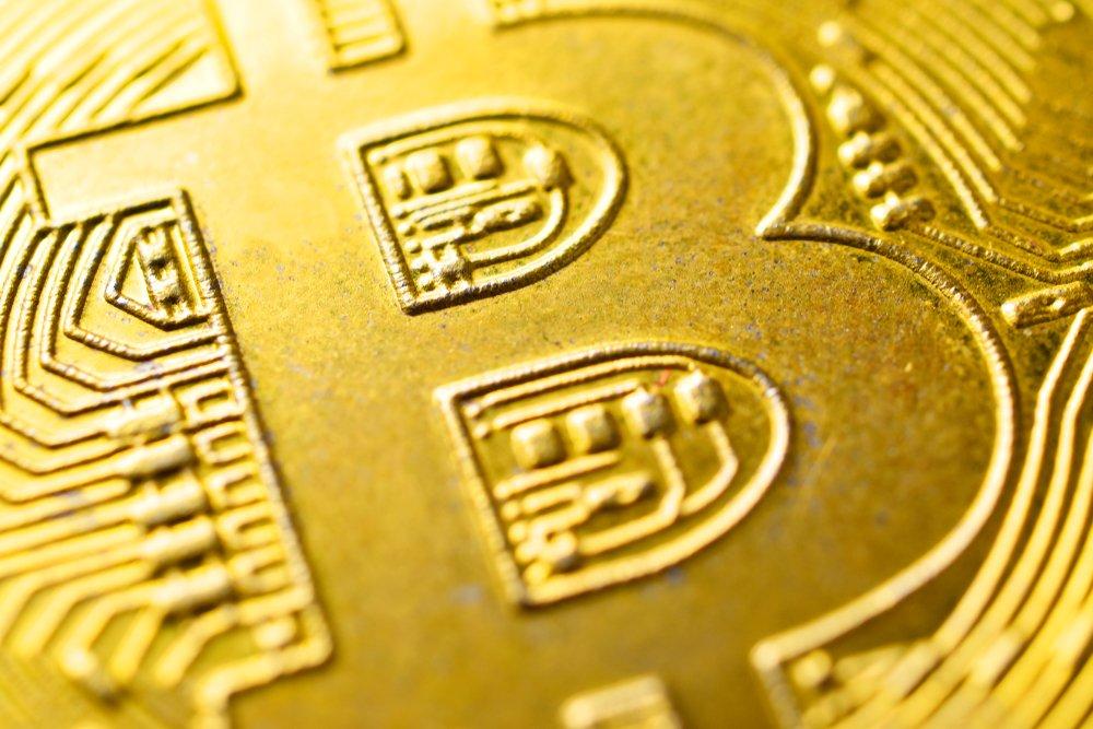 closeup bitcoin concept