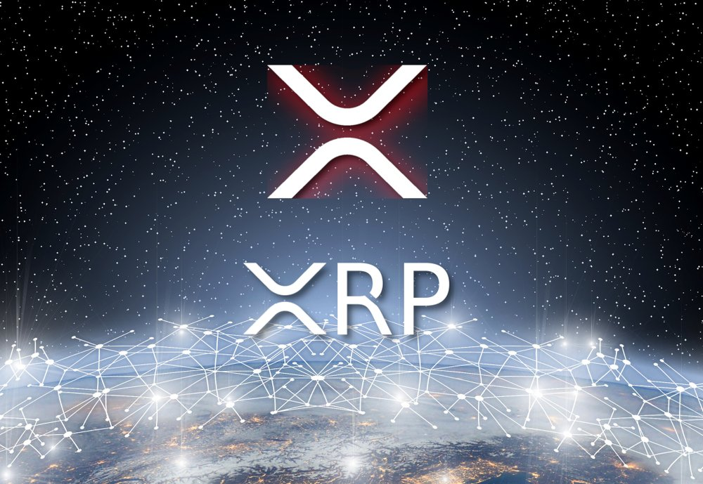 Concept of XRP Ripple coin Levitating over world network